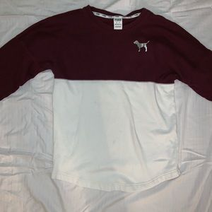 Maroon and white PINK sweater